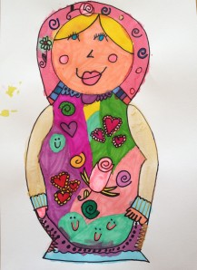 Although the doll in the story was a brunette, the student who created this lovely rendition chose to give her version more familiar coloring