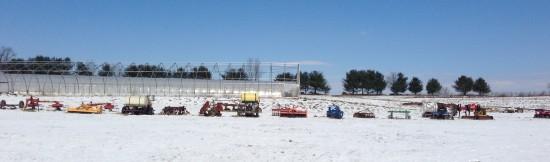 Row of colorful farm equipment