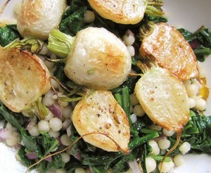Roasted hakurei turnips with pearled couscous