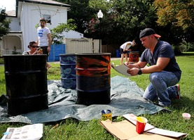 Mixing paint. Photo credit: Brian Schneider, www.ebrianschneider.com