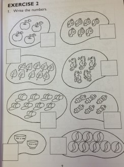 Example beginner math worksheet from Singapore Math, a pictorial approach to math instruction