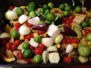 Potatoes, squash, and beets were pre-roasted, and now the whole shebang is about to go back in for final roasting.
