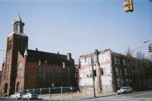 Corner of Ann and Aliceanna streets, circa 2009, with the friary gone