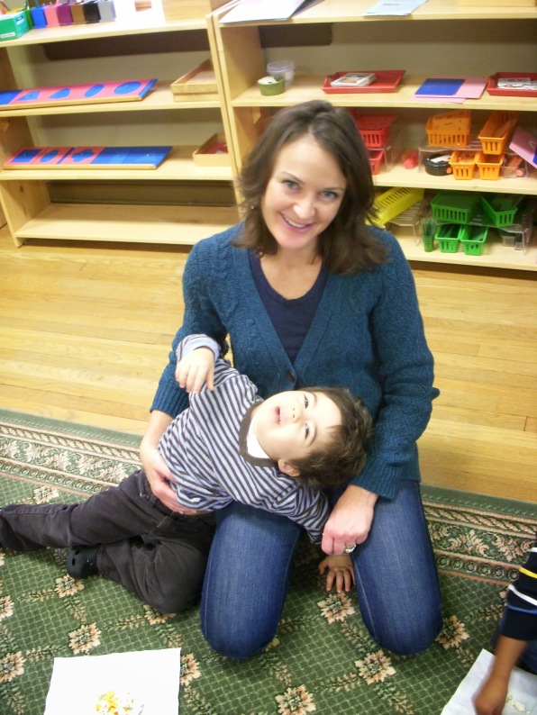 Volunteer mom and son.