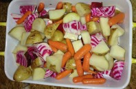 The beets were irresistibly pretty, so they went into a roast with other available veggies.