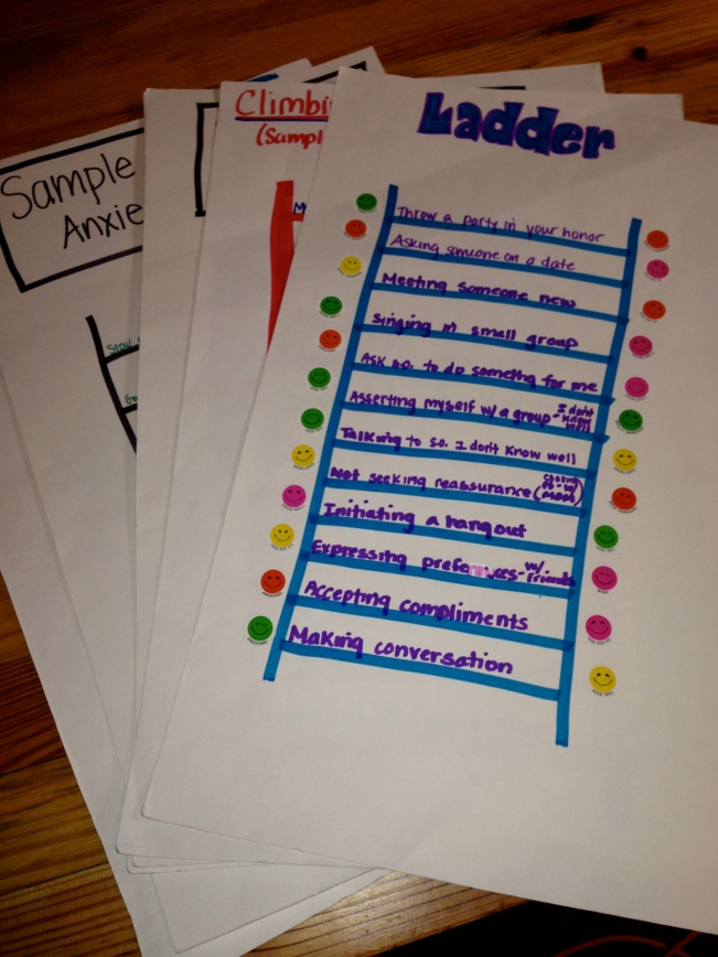 Sample ladders that Dr. Zucker has used to combat a variety of anxiety manifestations.