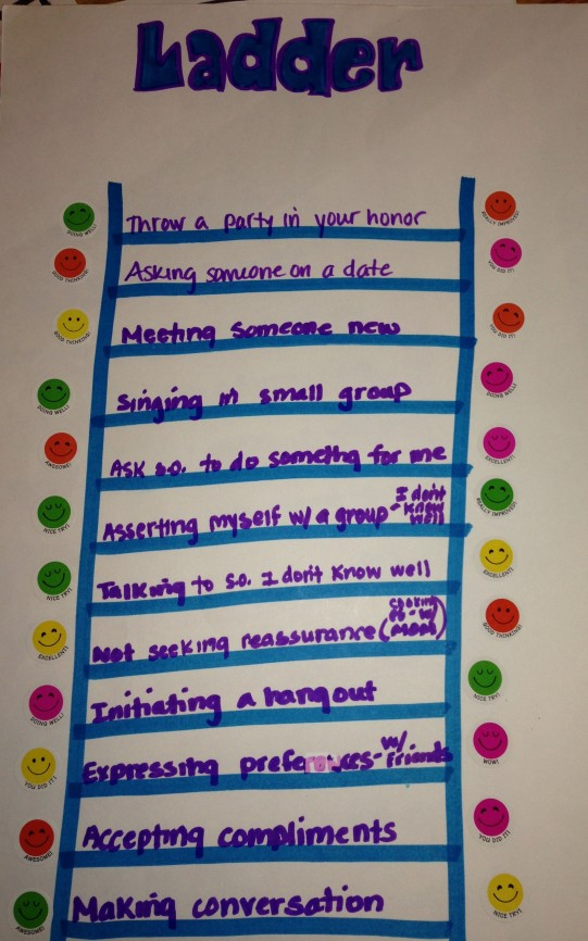 This sample ladder shows the steps to overcoming social anxiety. Smiley stickers are awarded for progress :).