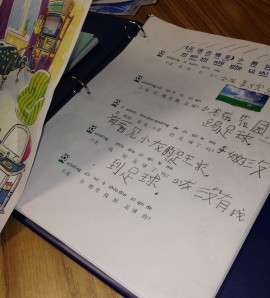 Pictured is a third-grade elementary student's Mandarin workbook. She is able to both read and write in Mandarin and, by her own account, loves it!