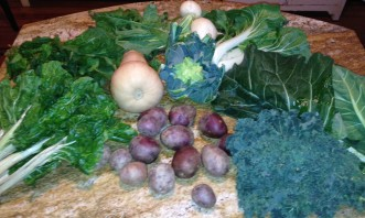 Clockwise from left: chard, arugula, turnips, bok choy, collard greens, lacinato kale, and purple potatoes. Butternut squash and romanesco occupy the center.