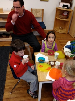 Mr. Sellers' primary students celebrated Thanksgiving by making stone soup, another exercise in togetherness.