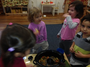 The primary students discuss the concept of this soup as well as its merits. Many had seconds!