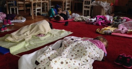 These primary kids catch some zzz's after a busy morning of playing and learning.