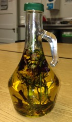 Flavoring oil is just one way Chef Emma makes use of herbs and flowers growing in the greenhouse.