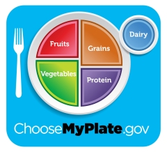 The MyPlate poster hangs on the cafeteria wall to remind students that eating a balanced meal is necessary for optimum functioning and health!