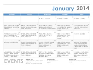 January's menu features most of the 13 available meals. Looks delicious!