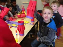 The first-graders also created these clever paper lanterns.