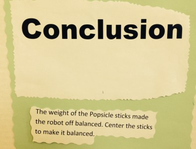 The weight of the popsicle sticks made the robot off-balanced. Center the sticks to make it balanced.