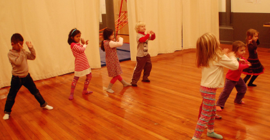 Elementary students' movement class.