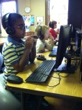 Elementary students use Successmaker and learn proper keyboarding skills.