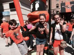 TNCS students pose with the Oriole Bird. Hey, why doesn't the O's mascot have a name, anyway?