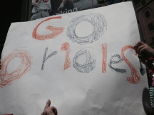 Elementary students made a sign to show their enthusiasm and support!