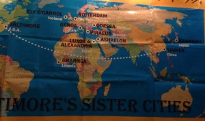 Map showing Baltimore's Sister Cities, including Xiamen, China