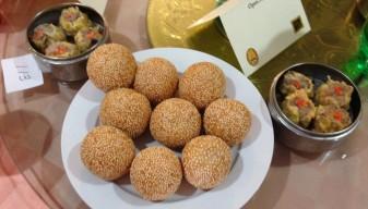 Fried sesame balls and steamed pork sao mai
