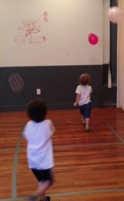 Balloons, badminton rackets . . . FUN!
