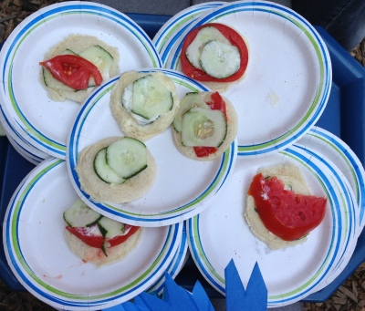 Cucumber and tomato sandwiches---yum!