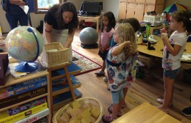 New for the 2014–2015 academic year, Kindergarten/1st-grade teacher Teresa Jacoby introduces her students to the classroom and its special routines.
