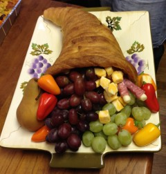 This beautiful cornucopia spilled over with all the kids' favorite healthy snacks!