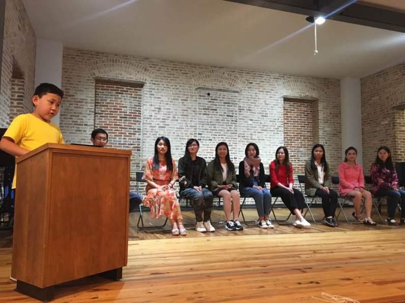 student gave a speech
